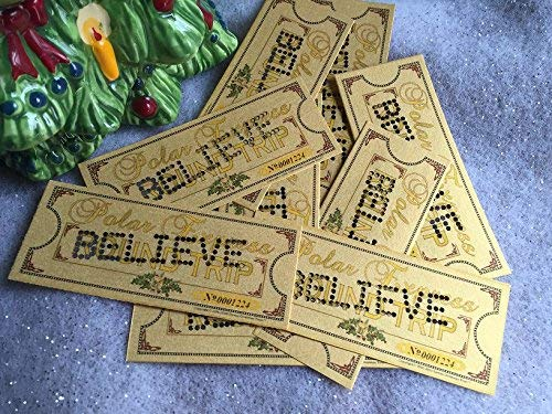 Polar Express Set of 10 Polar Express Hole Punched 'BELIEVE' Ticket Midgets