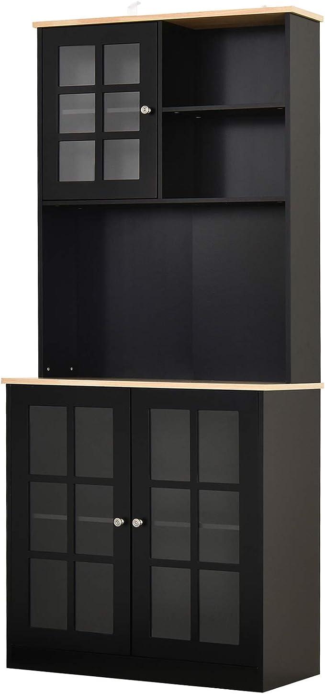 "Amazon.com: HOMCOM 72"" Modern Kitchen Solid Storage Kitchen Cabinet Pantry with Sleek Minimal Design & Ample Storage Space, Black: Furniture & Decor"