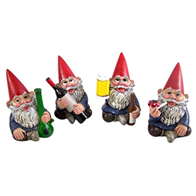 Miniature Lawn Gnomes Happy Time Group Drunk Garden Gnome Figurines, 3 1/2 Inches : Garden & Outdoor
