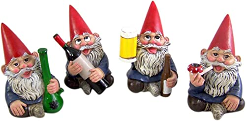 Miniature Lawn Gnomes Happy Time Group Drunk Garden Gnome Figurines
