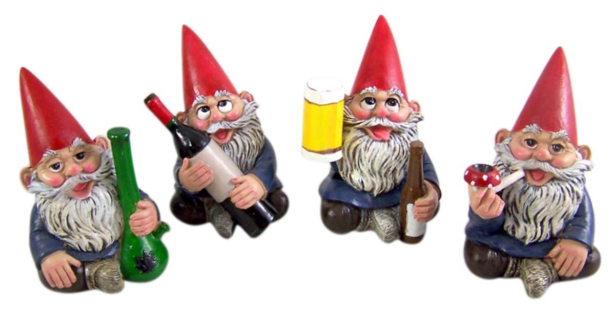Miniature Lawn Gnomes Happy Time Group Drunk Garden Gnome Figurines, 3 1/2 Inches