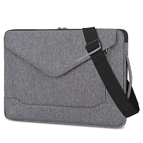 Laptop Bag,BRINCH Fashion Durable Slim Envelope Nylon Fabric 15 - 15.6 Inch Laptop / Macbook / Ultrabook / Tablet Computer Bag Shoulder Carrying Case Pouch Sleeve w/ Strap Pocket & Card Slot,Dark Grey