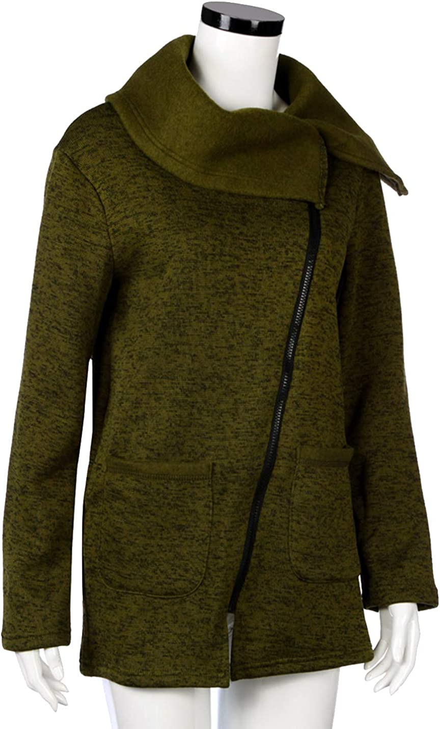 Liengoron Womens Casual Long Sleeve Solid Color Cotton Side Zipper Lapel Jacket Army Green, Large