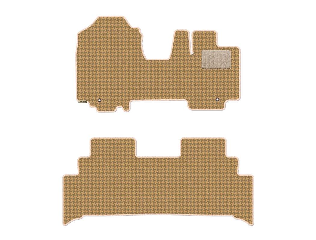 Hotfield スズキ スペーシア SPACIA MK53S フロアマット+ステップマット / リアステップ形状:一体型 / 千鳥ベージュ B078V4G1P4 リアステップ形状:一体型|千鳥ベージュ 千鳥ベージュ リアステップ形状:一体型