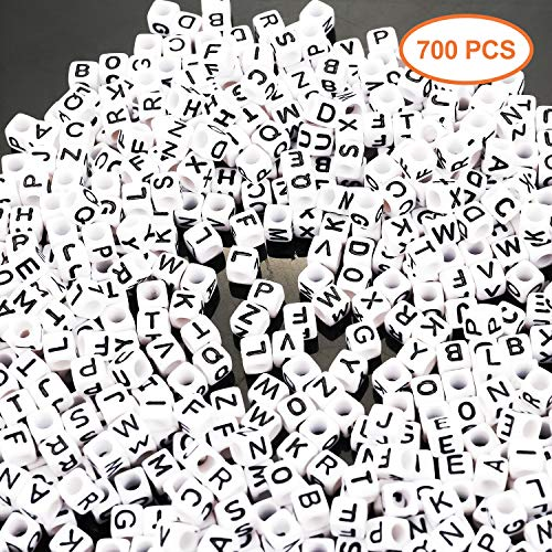 700PCS White Letter Cube Beads for Jewelry Making Kids DIY Necklace Bracelet (6mm)