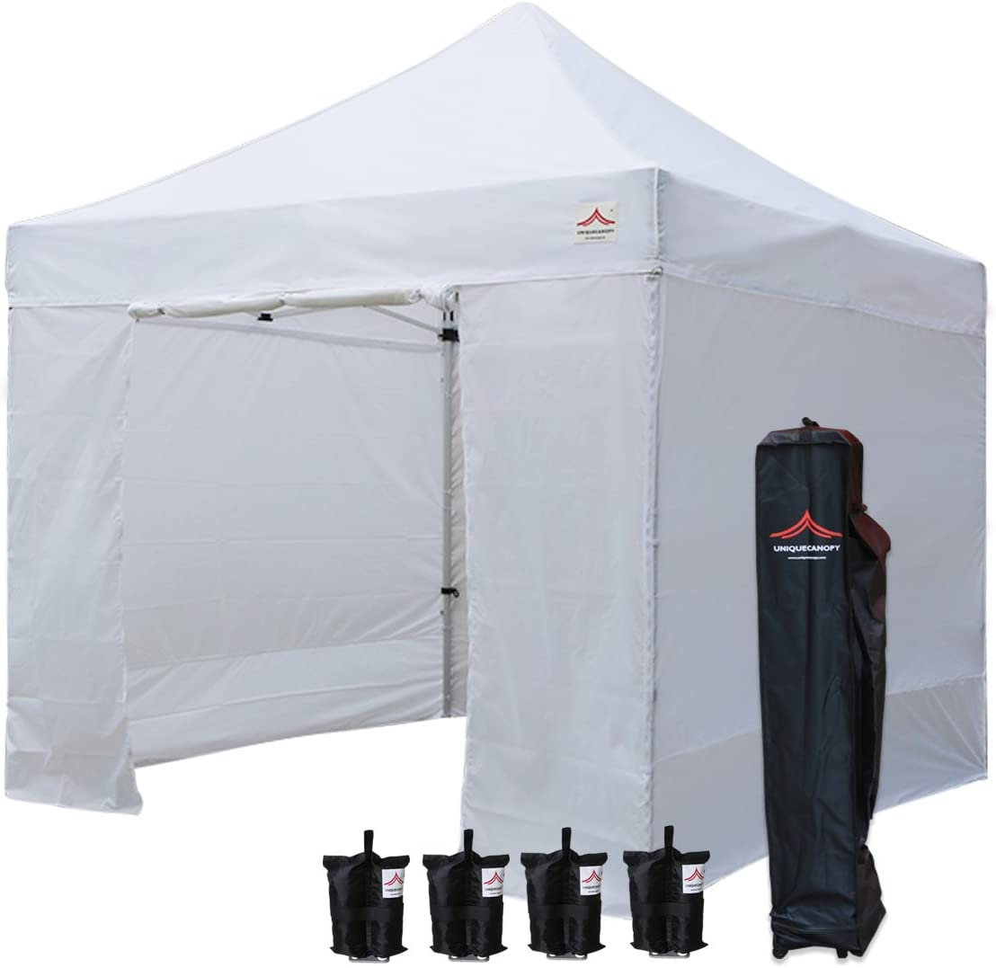 UNIQUECANOPY 10 x10 Ez Pop Up Canopy Tent Commercial Instant Shelter, with 4 Removable Zippered Side Walls and Heavy Duty Roller Bag, 4 Sand Bags White
