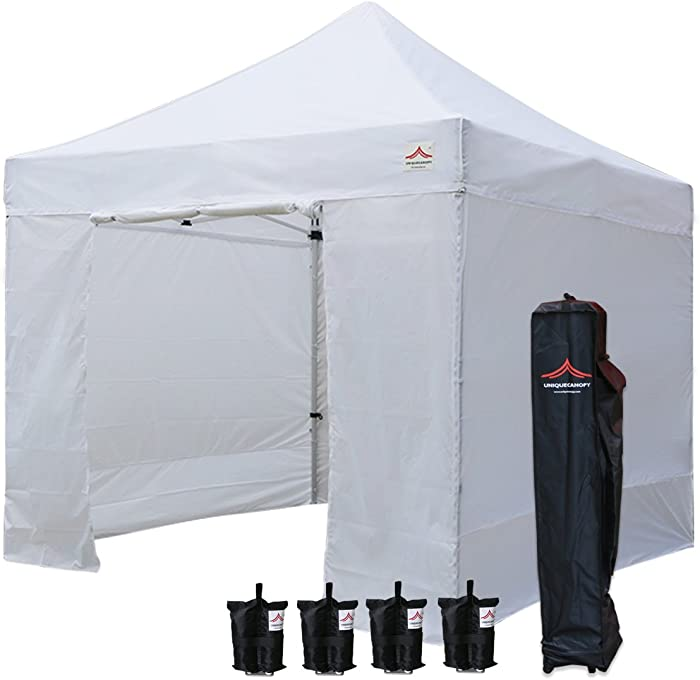 UNIQUECANOPY 10'x10' Ez Pop Up Canopy Tent Commercial Instant Shelter, with 4 Removable Zippered Side Walls and Heavy Duty Roller Bag, 4 Sand Bags White