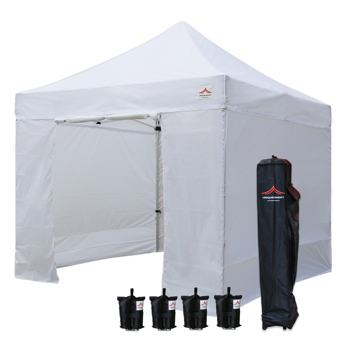 UNIQUECANOPY 10x10 Ez Pop up Canopy Tents for Parties Outdoor Portable Instant Folded Commercial Popup Shelter, with 4 Zippered Side Walls and Wheeled Carrying Bag Bonus 4 Sandbags White