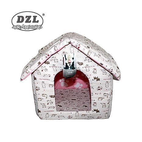 DZL® caseta de algodón para Perro y Gato (Dibujo Gatos Rosa y Gris)