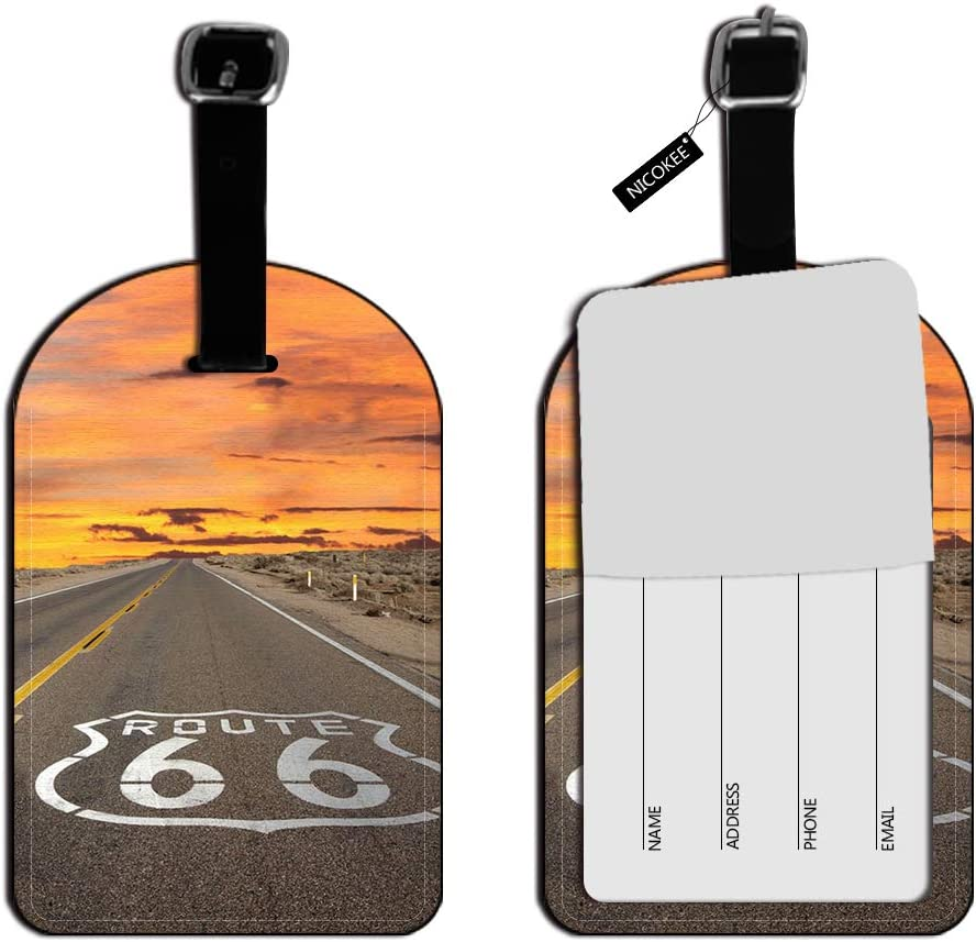 Nicokee Famous US Route 66 ID Tag Luggage Card Suitcase Carry-On ID Luggage Tag Leather Travel Bag Labels