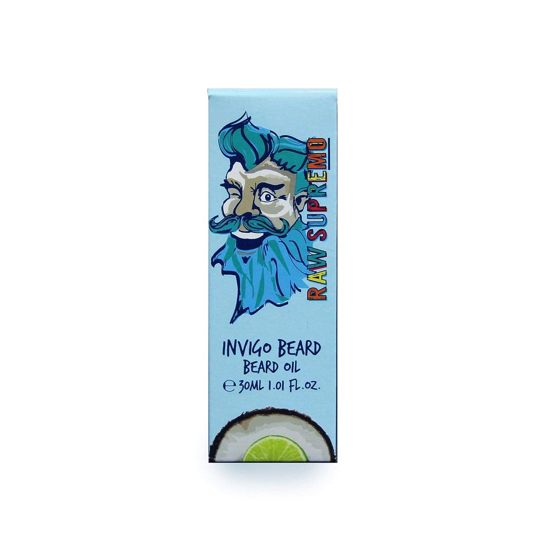 Raw Supremo Invigo Beard Beard Oil 30ml Coconut & Lime Fragrance Mens Vegan Beard Grooming Care