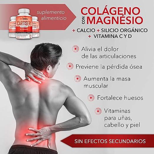 Colágeno con Magnesio + Calcio + Silicio Orgánico + Vitaminas C y D - Colágeno Cartiser Tarro de 180 comprimidos - Sin Gluten - Contenido para 1 mes