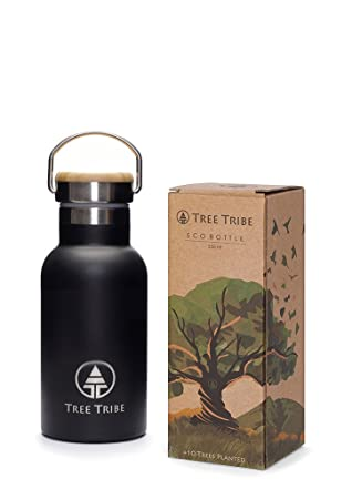 e0040dc54737 Tree Tribe Black Stainless Steel Water Bottle 350 ml - Indestructible, BPA  Free, 100% Leak Proof, Eco Friendly, Double Wall Insulated for Cold/Hot ...