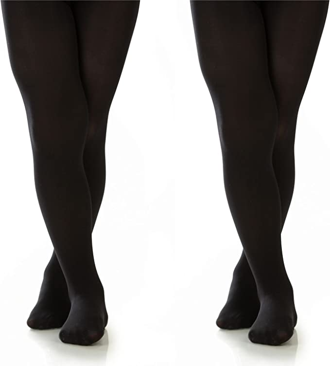 2 Pairs Silky Toes Girls Microfiber School Winter Opaque Footed Tights