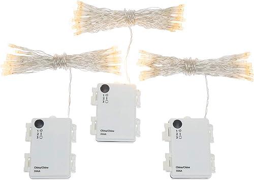 3 Pack Battery String Lights, 30 Warm White LEDs, 11 Ft. Strands, Batteries Included, Value Set