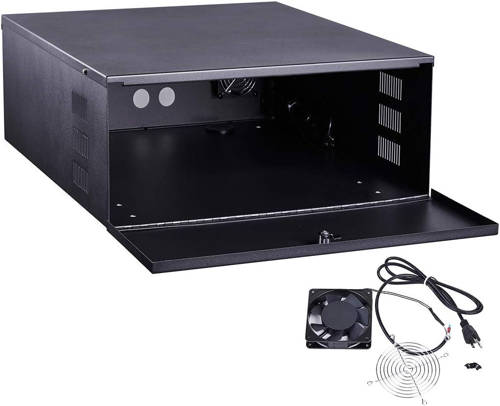 Kenuco Heavy Duty 16 Gauge Steel DVR Security Lockbox with Fan (BK 24'' x 21'' x 8'')