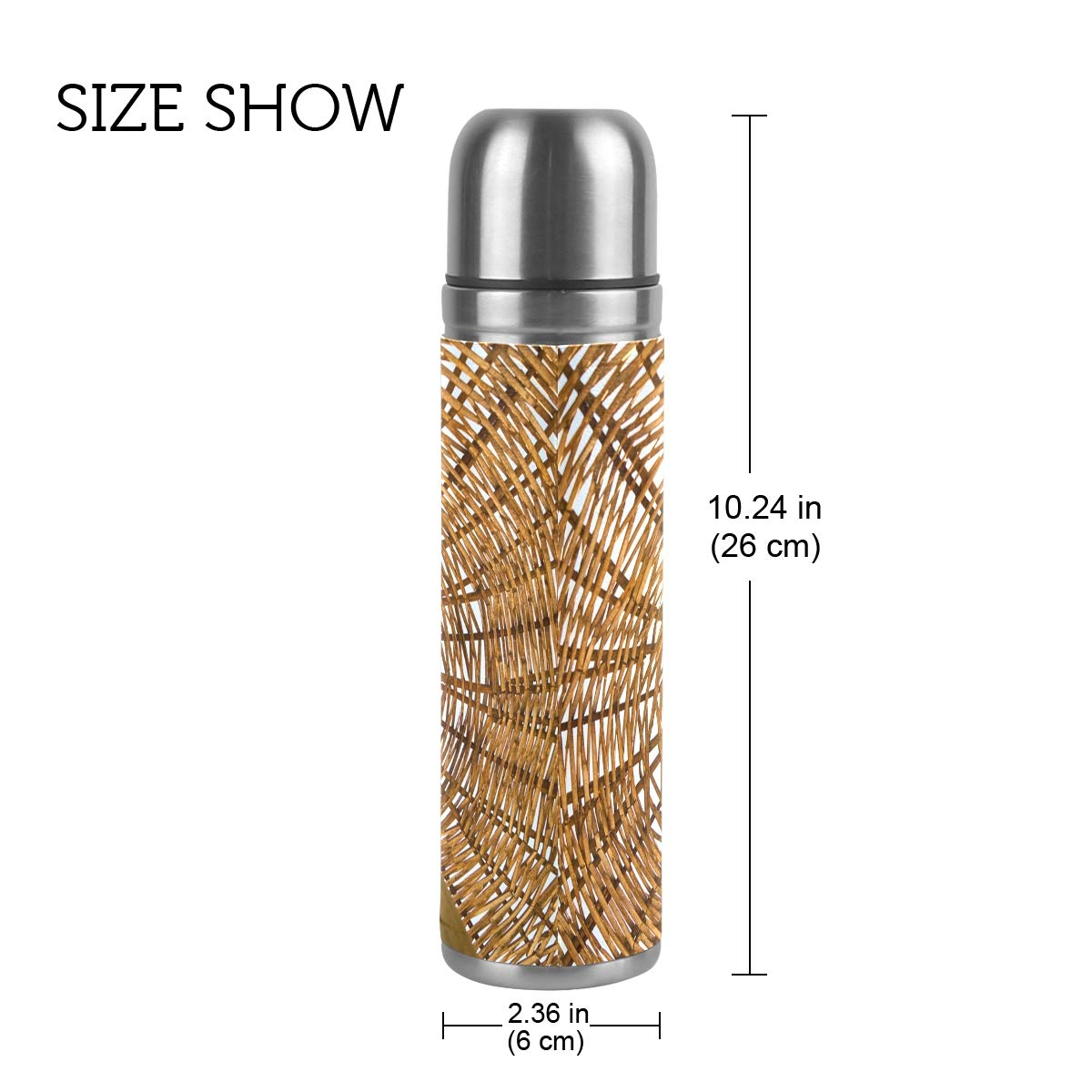 Beach Wood Sunlight Summer Vacation Line 500ML Stainless Steel Double Walled vacuum insulated water bottle Travel Mug Leather Cover Thermos 17 oz by Double Joy (Image #2)