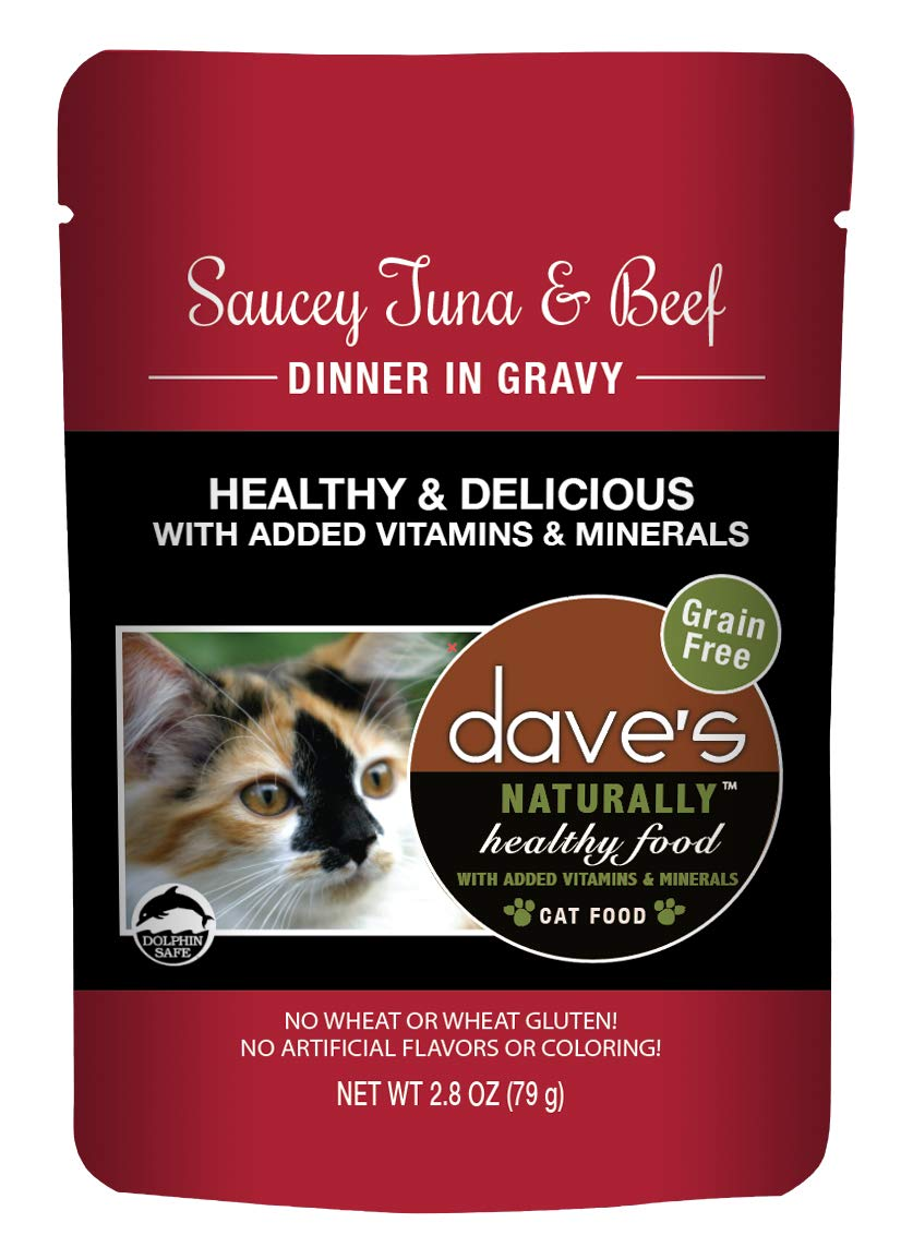 Dave's Naturally Healthy Wet Cat Food Pouches - Saucey Tuna and Beef Dinner in Gravy - 2.8 Ounce Pouches, 24 Count - Made in the USA by Dave's Pet Food