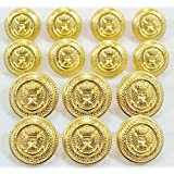 "MetalBlazerButtons.com Brand - GOLD CROWNED EAGLE & ANCHOR CREST - (14-Button, Double Breasted) METAL BLAZER BUTTON SET - 7/8"" & 5/8"" BUTTONS"