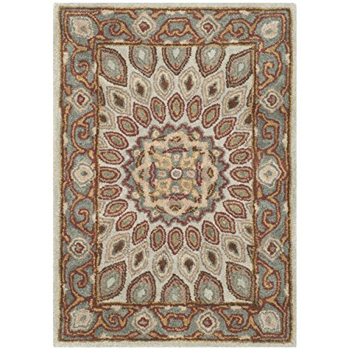 Safavieh Heritage Collection HG914B Handmade Traditional Oriental Blue and Grey Wool Area Rug (2′ x 3′)