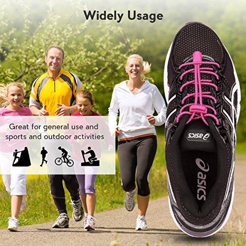 No Hiking Shoes Pink 3 Reflective Elastic Lacing Shoe Running Quick with Running Pairs Climbing System and Shoelaces Kids for for Lock Laces Adults Tie 44fqpB65