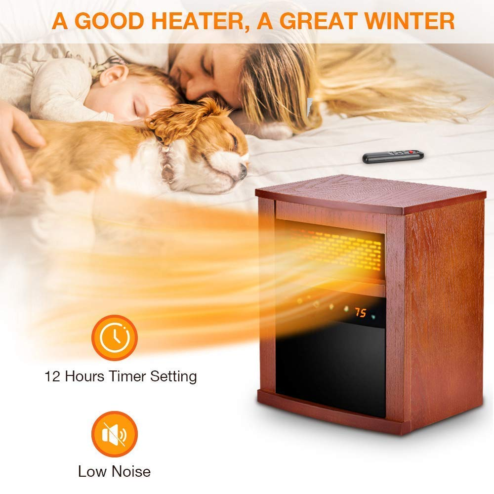 Space Heater – 1500W Room Heater with 3 Heating Modes, Remote Control and Timer, Electric Heater with Overheat Tip-Over Shut Off Protection, for Bedroom and Office, Low Noise, Wood Cabinet, L, Brown