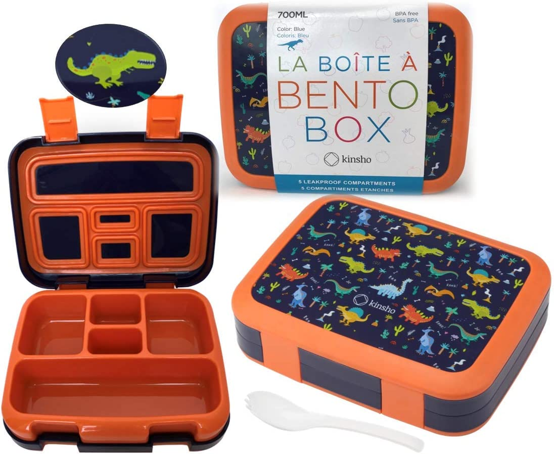 Dinosaur Bento Lunch Box for Boys Girls Toddlers, 5 Portion Sections Secure Lid, Microwave Safe BPA Free Removable Tray, Pre-School Kid Daycare Lunches Dino Snack Container Ages 3 to 5 Blue Orange
