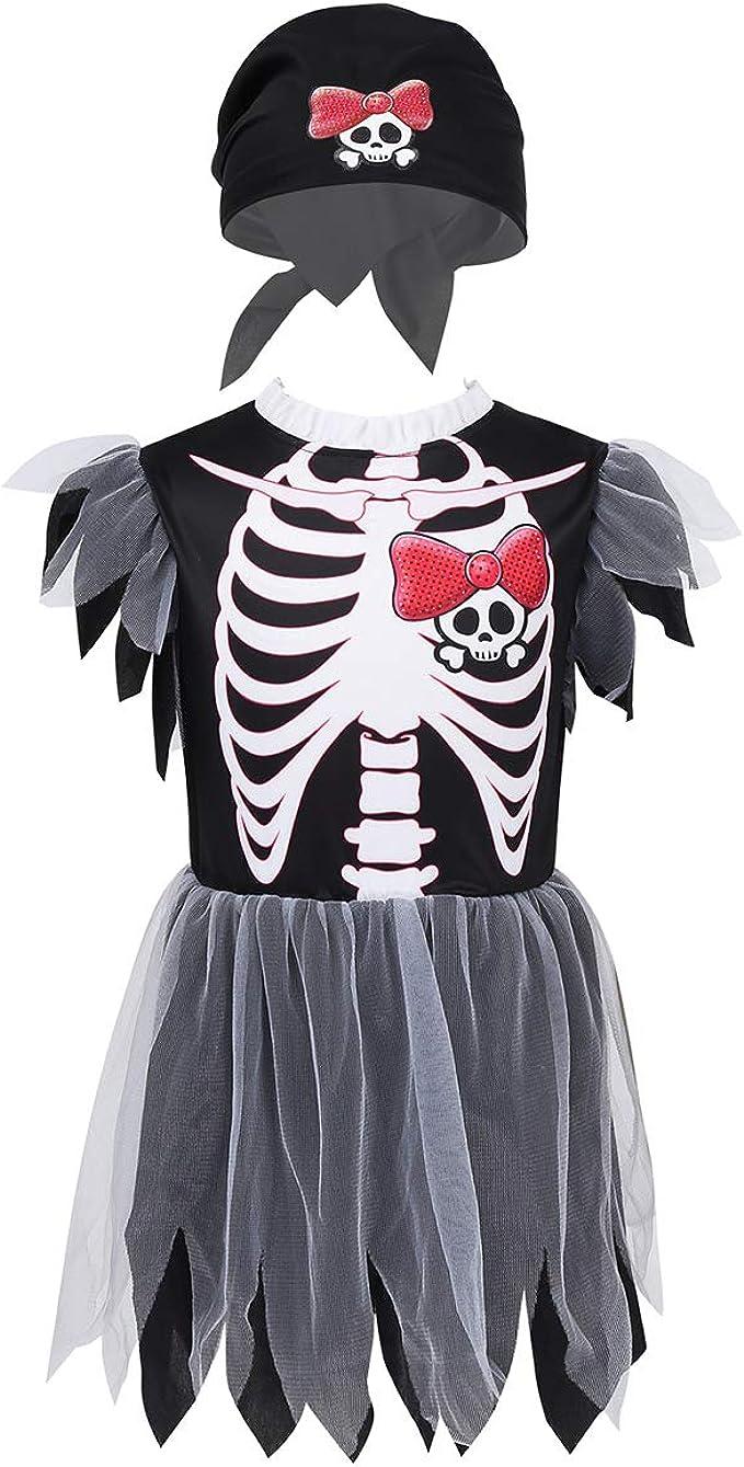 iixpin - Disfraz de Calavera para niñas con Vestido de Tul de ...