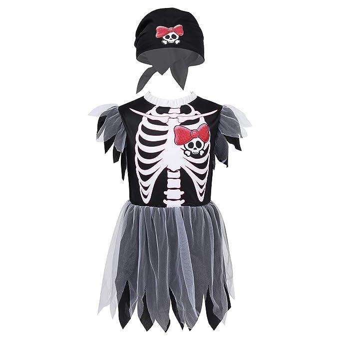 IEFIEL Disfraz Pirata Esqueleto para Niñas Vestido en Tutu ...