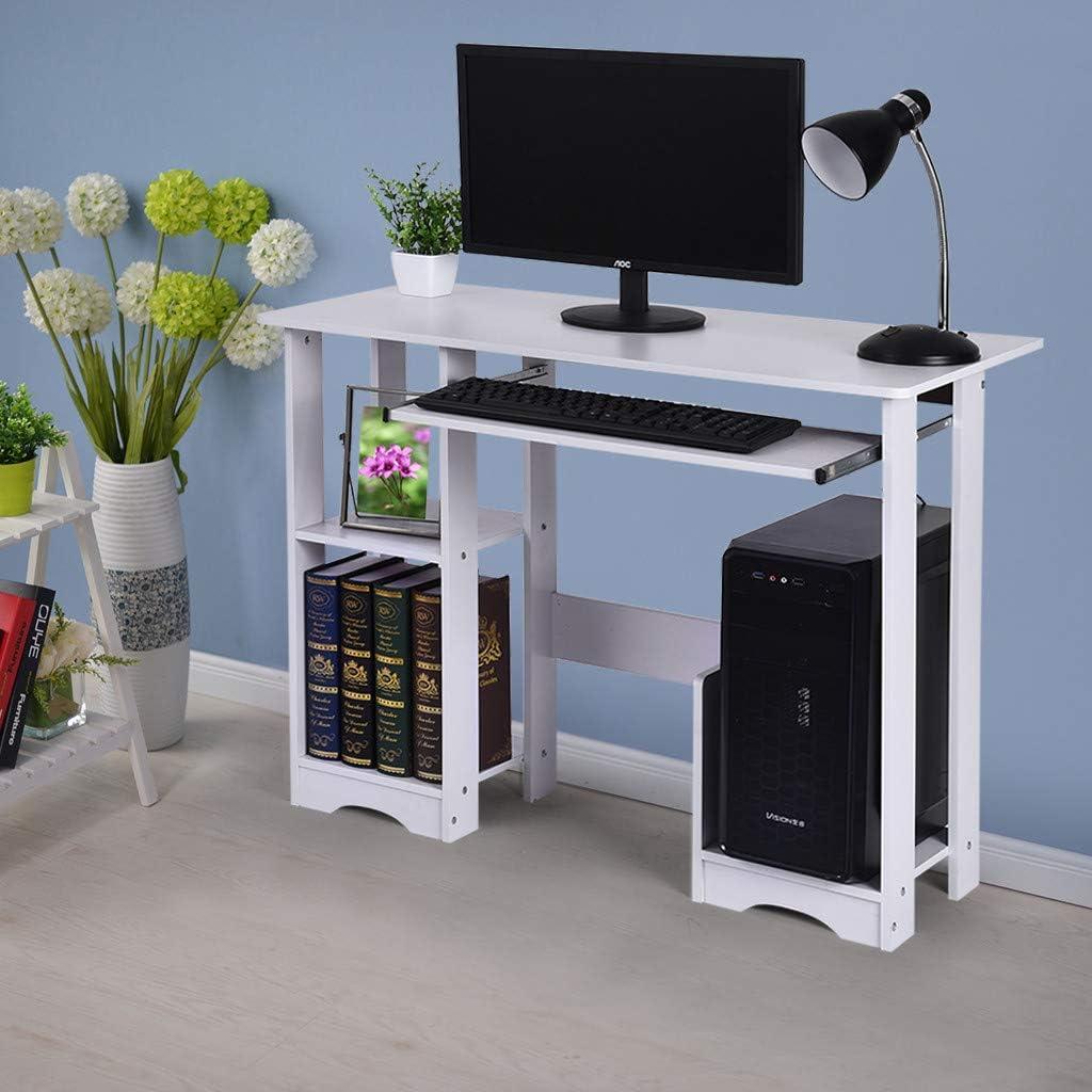 Computer Desk, PC Laptop Table Wood Workstation Writing Desks Study Home Office Desk with Keyboard Tray & Book Shelf Desktop Table Furniture