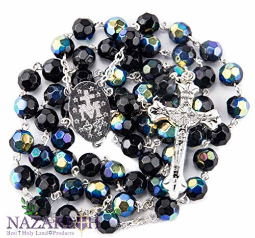 Catholic Deep Blue Rosary Crystal Beads Necklace Miraculous Medal & (Crystal Strand Cross)