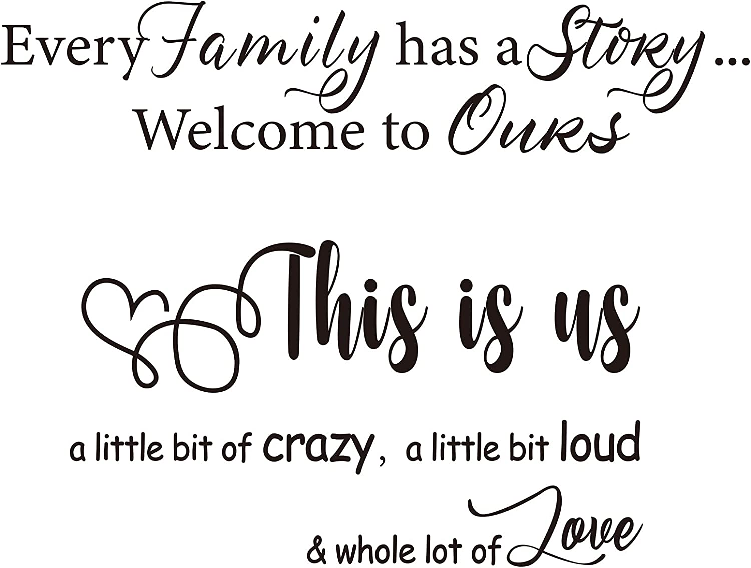 2 Sheets Family Wall Decals Removable Family Letter Quote Decals Sticker Vinyl Lettering Sayings Home Decor for Living Room Bedroom
