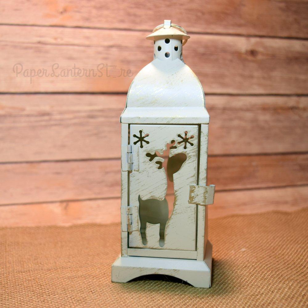 Paperlanternstore.com 8 Inch Christmas Reindeer Rustic White Hurricane Candle Lantern w//Door