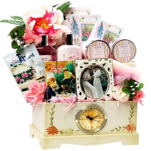 SCHEDULE YOUR DELIVERY DAY! Victorian Lace Gourmet Food and Spa Gift Basket Set with Clock
