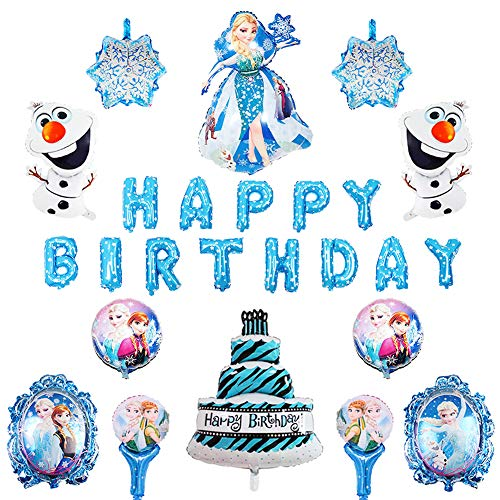Frozen Party Balloons (15PCS Frozen Balloons Birthday Party Supplies Set, Elsa and Anna Balloon for Kids Baby Shower Birthday Party)