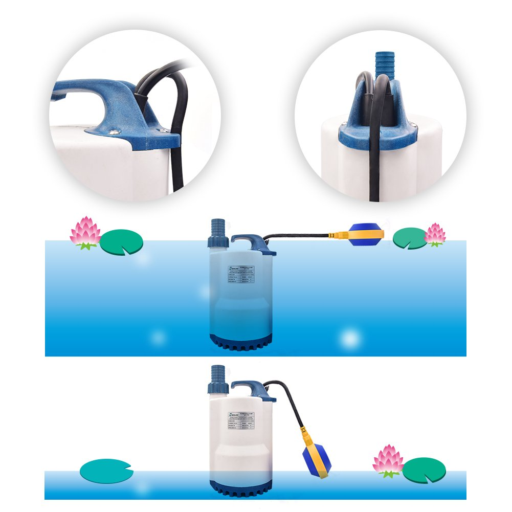 SONGJOY 1//2 HP Submersible Sump Pump 2250GPH Utility Water Pump with Float Switch For Swimming Pool Pond Basement Drainage Garden Irrigation Water Transfer SJP-370