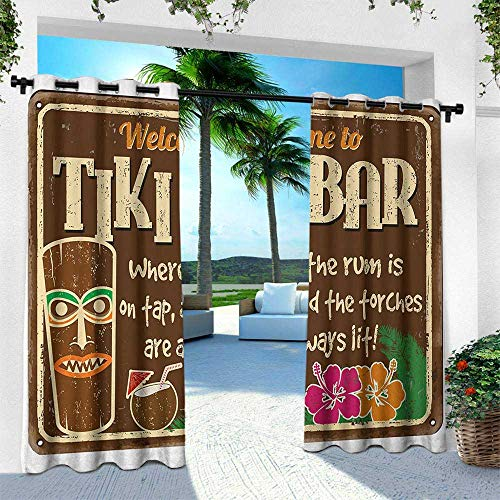 Hengshu Tiki Bar, Outdoor Blackout Curtains,Aged Old Frame Sign of Tiki Bar with Inspirational Quote Leisure Travel Print, W84 x L108 Inch, Multicolor ()