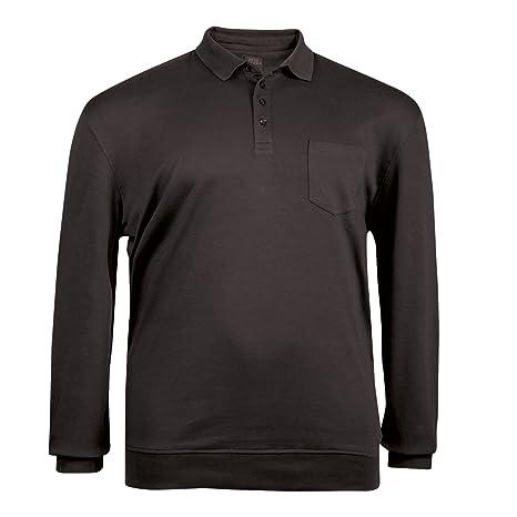 Kitaro XXL schwarzes Langarm Poloshirt mit Bündchen  Amazon.de  Bekleidung 0be313fbcb