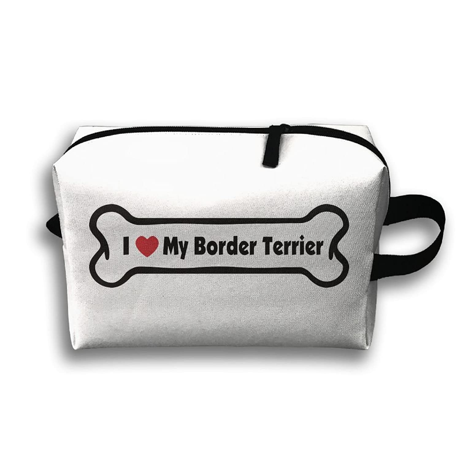 Storage Bag Travel Pouch I Love My Border Terrier Purse Organizer Power Bank Data Wire Cosmetic Stationery Holder