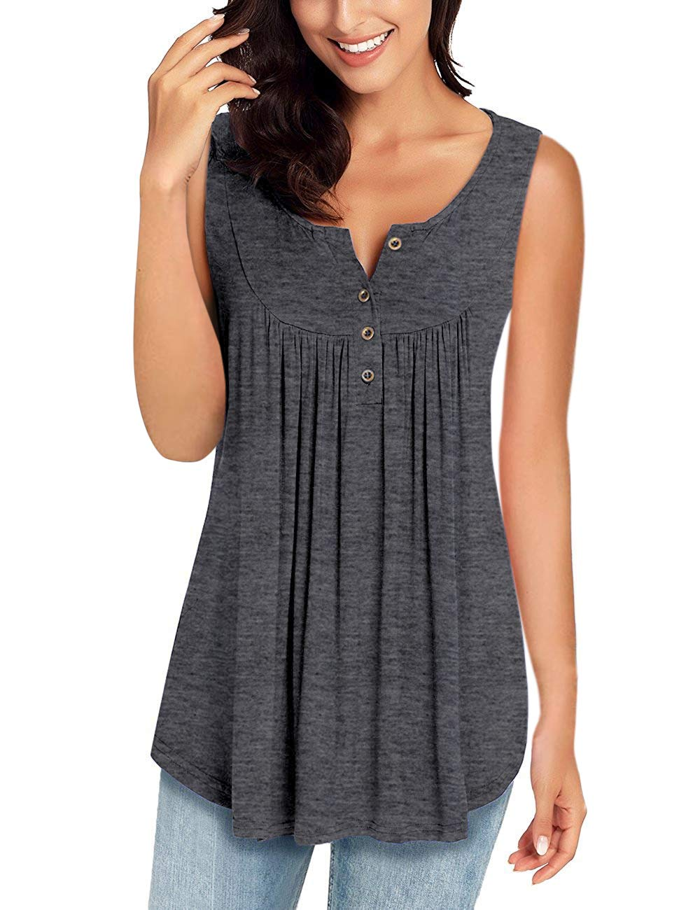 MIROL Womens Spring Sleeveless V Neck Solid Color Casual Swing Shirts Flowy Tank Tops Maternity Blouses with Buttons Gray by MIROL