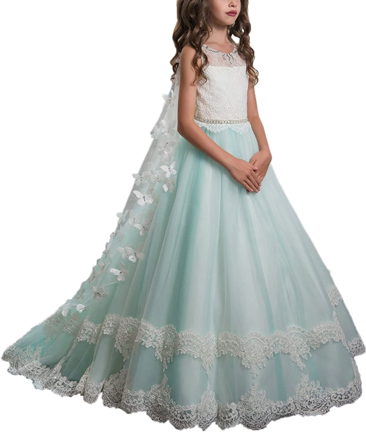 PLwedding Lace Flower Girls Dresses Kids First Communion Dress Princess Wedding Pageant Ball Gown