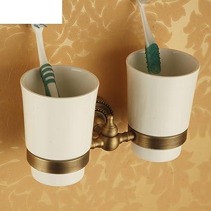 Bronce ba?o estante de cristal/Mug/Doble taza/ colgar la taza