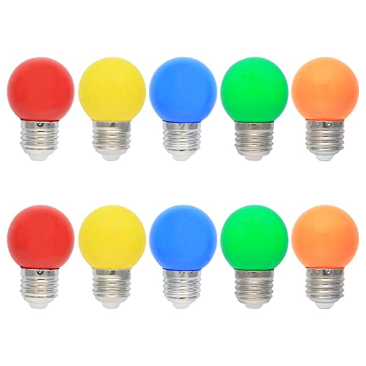 10X E27 Bombilla de Color 1W Vistoso LED Lámpara 100LM Globo Colores LED Material de PC