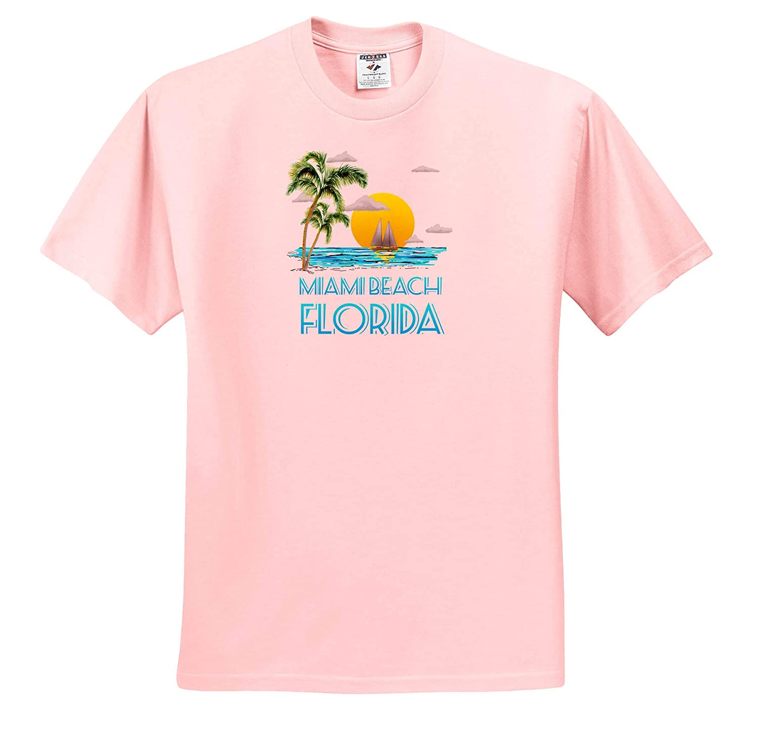 3dRose Macdonald Creative Studios Nautical Sailing Beach Design for The Miami Beach Florida - T-Shirts Florida