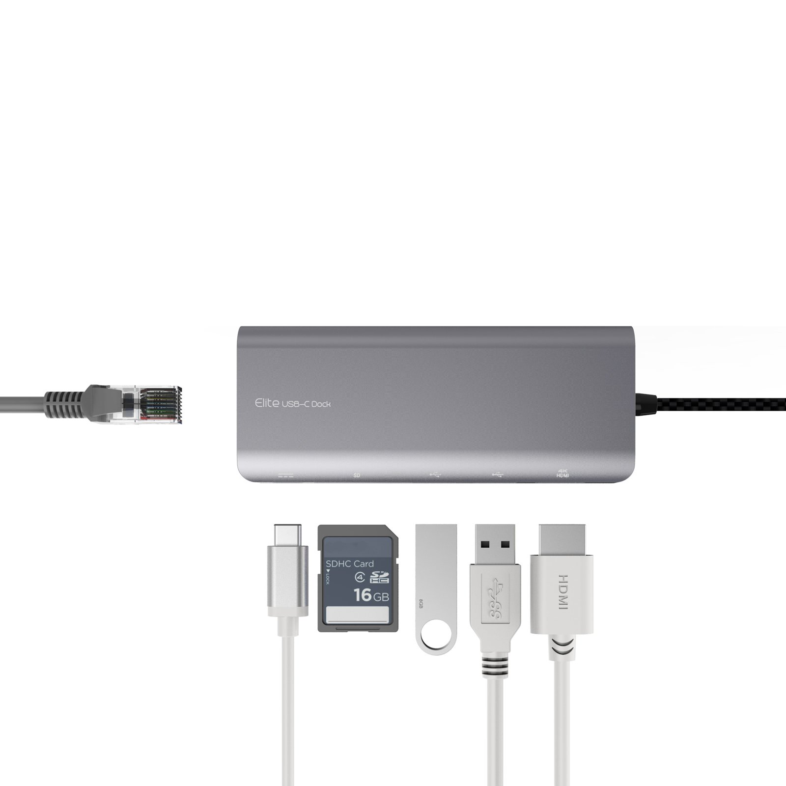 mbeat USB-C Hub (USB Type C) Docking Station, supports MacBook Pro, 60W power pass through, 4K HDMI, Ethernet(RJ45), 2 x USB 3.1 Type-A ports, USB-C port, SD memory Card Reader (Space Grey) by mbeat (Image #4)