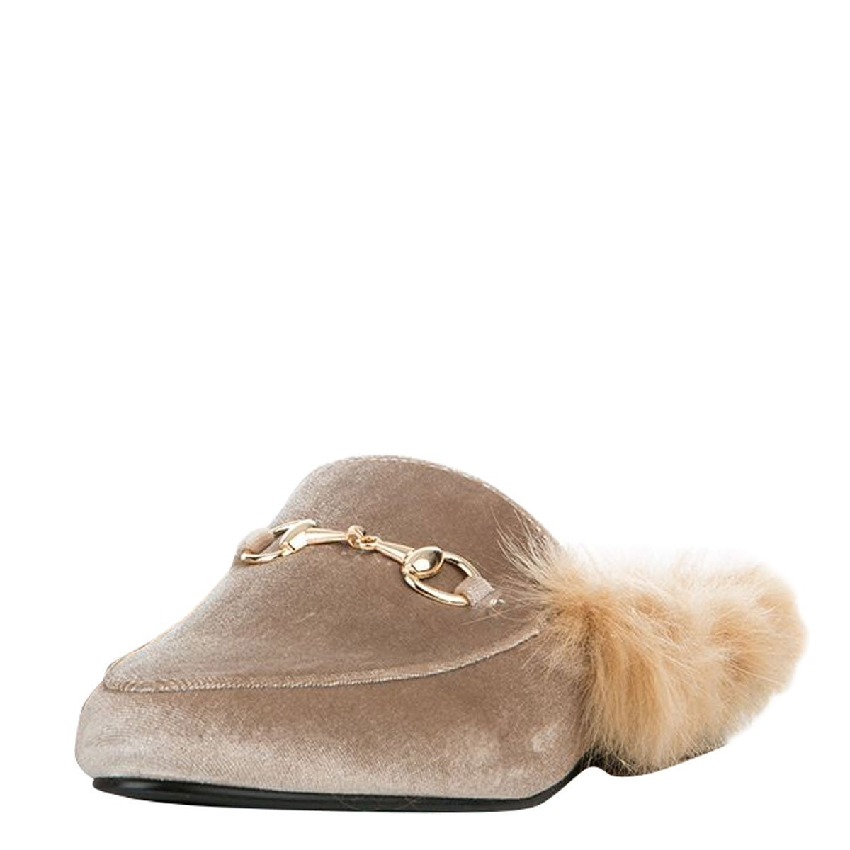 CAPE ROBBIN Womens Round Toe Faux Fur Lined Horsebit Slip On Loafer Mules Flat Shoes Slipper 8.5 Nude