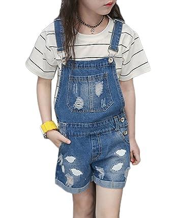 bd4e45171328a9 Mädchen Denim Latzhose Kleinkind Hosenträger Jeans Shorts Overall Playsuit  Cowboy Denim Hosen Blau 170