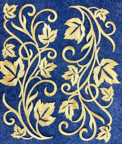 (Two Hug Gold Flower Leaves Iron on Embroidered Appliques Patch Flower Motifs, Craft, Sewing, Embroidery Patches, Embroidered Lace Fabric Ribbon Trim Neckline Collar (Gold) )