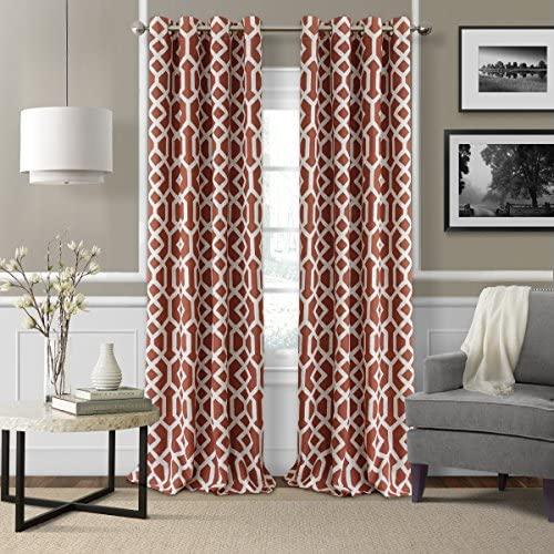Elrene Home Fashions 26865901238 Grayson Trellis Room Darkening Grommet Linen Window Curtain Drape Panel