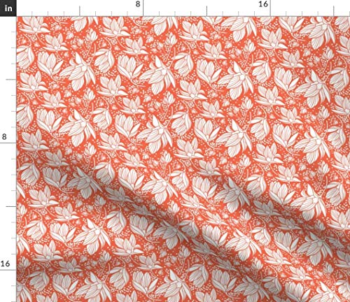 (Spoonflower Flower Fabric - Floral Magnolia Red White Silhouette Dots by Heatherdutton Printed on Petal Signature Cotton Fabric by The)